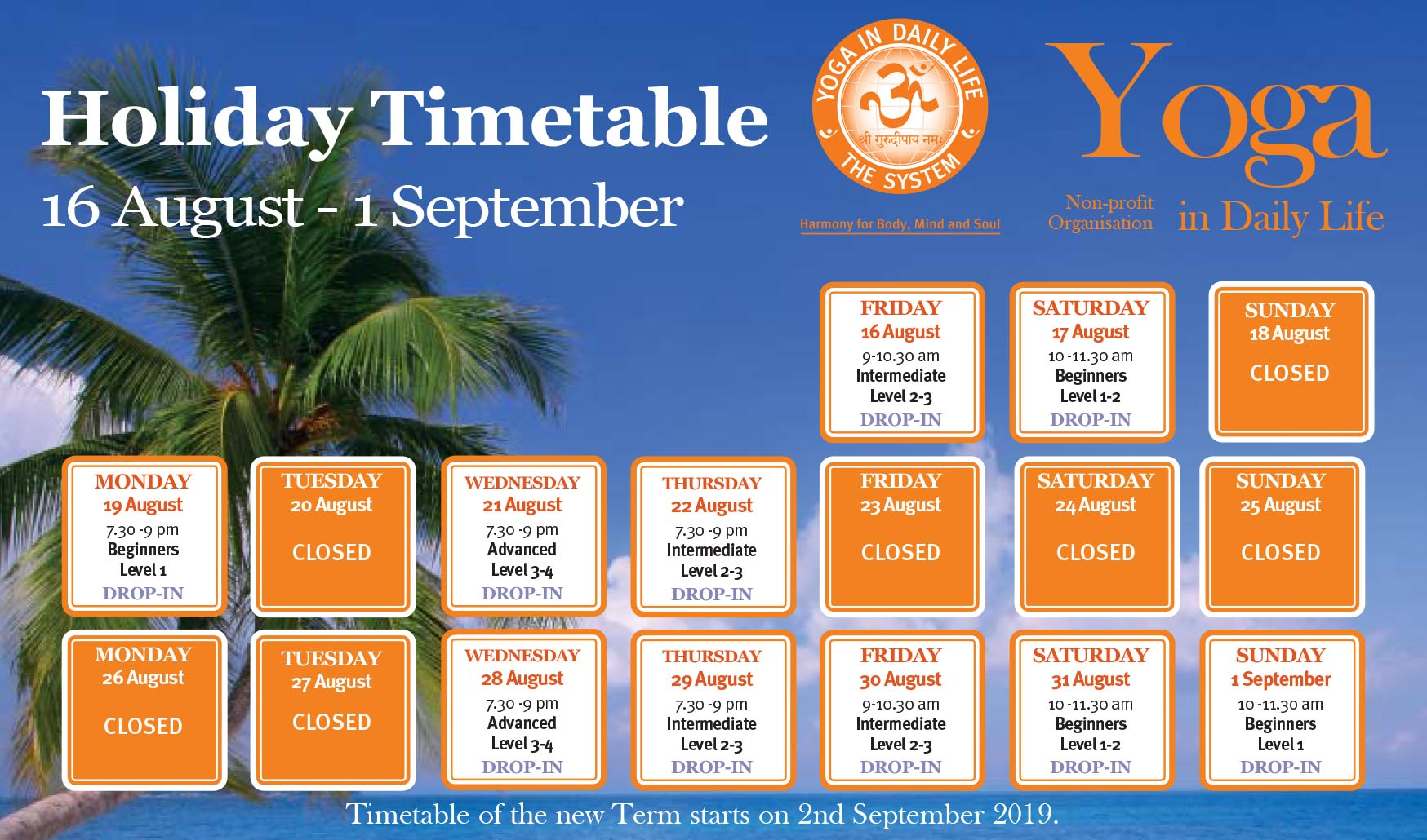 2019 Summer Timetable